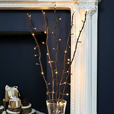 5 Decorative Brown Willow Twig Lights, 50 Warm White LEDs