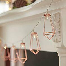 Battery Rose Gold Metal Lantern Fairy Lights, 10 Warm White LEDs