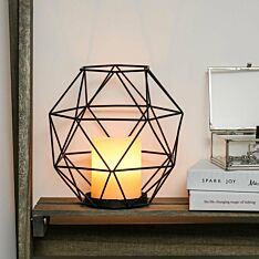 Black Cage Battery Wax Candle Lantern, 20cm