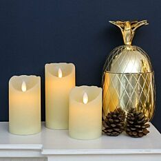 3 Battery Flickering Wax LED Candles