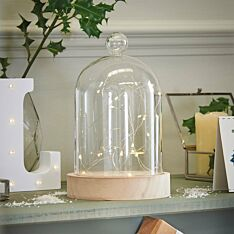 Battery Glass Dome Bell Jar with Wire Lights