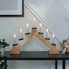 40cm Battery Wooden Candle Bridge, 7 Warm White LEDs