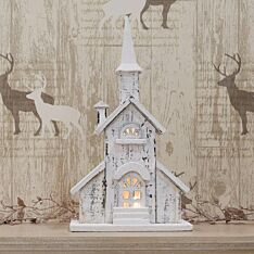Battery Nordic Wooden White Church Christmas Decoration