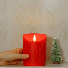Red Battery Dripping Wax LED Candle, 13cm