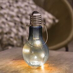 Outdoor Battery Smoked Glass Festoon Bulb Lantern