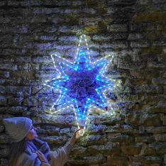 95cm Outdoor Rope Light Star Silhouette, Blue and White LEDs