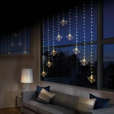 1.2m x 1.2m Firefly Wire Starburst Curtain Lights. 483 Warm White LEDs