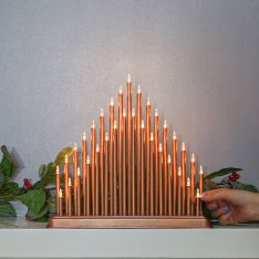 36cm Rose Gold Candle Bridge, 33 Warm White LEDs