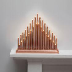 36cm Rose Gold Candle Bridge, 33 Warm White LEDs