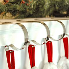 Silver Mantle Piece Christmas Stocking Clips, 4 Pack