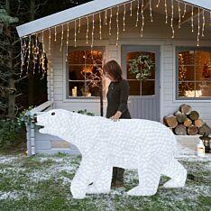 2m Large Male Polar Bear Commercial Sculpture, 4,000 White LEDs