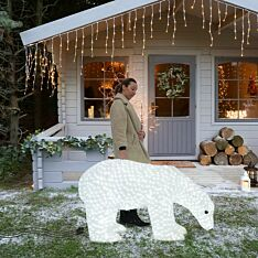 1.35m Large Male Polar Bear Commercial Sculpture, 3,000 White LEDs