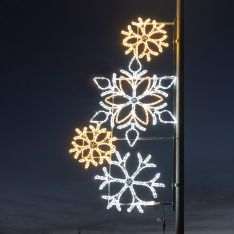 2m Outdoor Commercial Rope Light Snowflake Motif, Twinkle LEDs