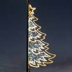 2m Outdoor Commercial Rope Light Christmas Tree Motif, Twinkle LEDs