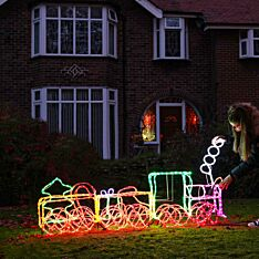 1.95m Outdoor 3D Train Rope Light Christmas Silhouette, 960 Multi Colour LEDs