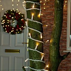 Outdoor LED String Lights, Flash Bulb, Connectable, White Rubber Cable