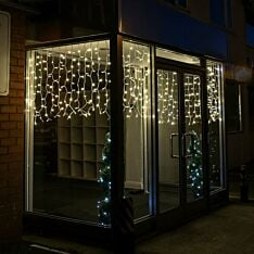 2m x 1m Outdoor Curtain Lights, Connectable, 200 Warm White LEDs, White Cable