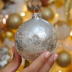 8cm Silver Crackle Glass Christmas Tree Bauble