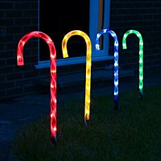 Outdoor Multi Colour Candy Cane Christmas Stake Lights, 4 Pack