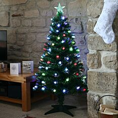 4ft Fibre Optic Christmas Tree with Cone  Decorations, Multi Coloured LEDs