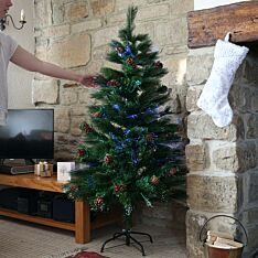 5ft Fibre Optic Christmas Tree with  Cones and Berries