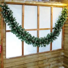 2.7m Frosted  Christmas Garland with Mixed Tips