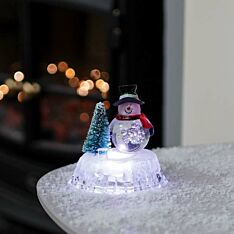 9cm Battery Operated Lit Acrylic Snowman Scene, Colour Changing LEDs