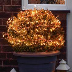 Outdoor Plug In Copper Multi Strand Cluster Lights, 360 Amber LEDs