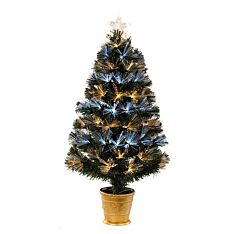 3ft Fibre Optic Potted Christmas Tree, White and Warm White LEDs