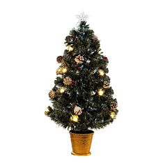 5ft Fibre Optic Christmas Tree with Decorations, Warm White LEDs