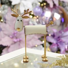 White and Gold Metal Standing Reindeer Decoration