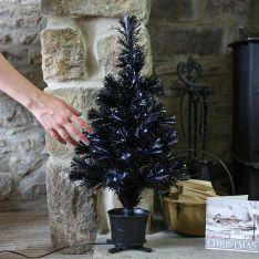 2ft Black Fibre Optic Christmas Tree, White LEDs