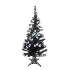 5ft Black Fibre Optic Christmas Tree with Silver Decorations, White LEDs