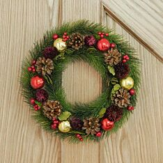 36cm Red and Gold Bauble Christmas Wreath