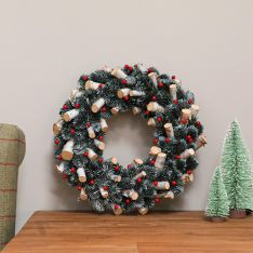 36cm Red Berries and Wooden Logs Christmas Wreath