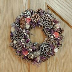 36cm Wooden Pink Baubles and Pinecone Christmas Wreath