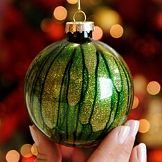 8cm Green and Gold Marble Effect Christmas Tree Bauble