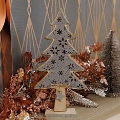 30cm Wooden and Grey Suede Effect Table Top Tree Decoration