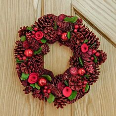 36cm Red Pinecone Christmas Wreath