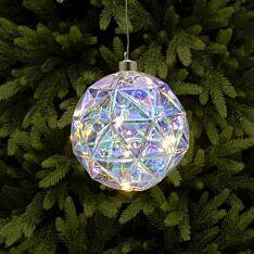 15cm Battery Rainbow Diamond Cut Glass Christmas Tree LED Bauble