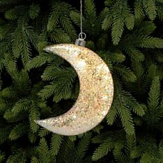 17cm Battery Glass LED Glittered Moon Christmas Tree Decoration