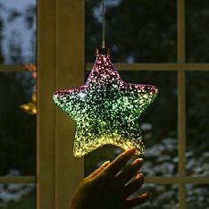 18cm Purple & Green Battery Glass LED Star Christmas Tree Decoration