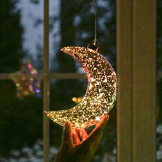 17cm Gold Battery Glass LED Glittered Moon Christmas Tree Decoration
