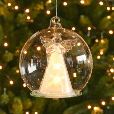 12cm Clear Battery LED Angel Christmas Tree Bauble