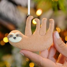8cm Brown Claydough Sloth Christmas Tree Decoration