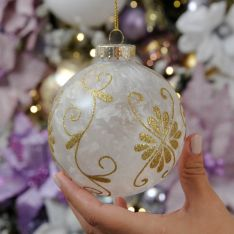 10cm Gold Glitter Glastic Christmas Tree Bauble