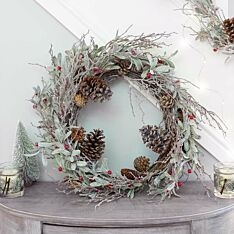 60cm Frosted Mistletoe and Red Berry Christmas Wreath