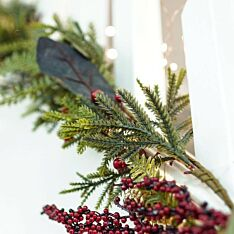 1.3m Red Berry and Gold Leaf Christmas Garland