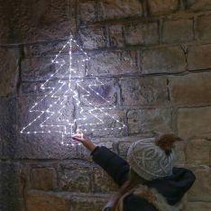 64cm Hanging Firefly Christmas Tree Silhouette, 169 White Flashing LEDs