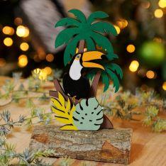 16cm Laser Cut Toucan Tropical Scene Table Decoration